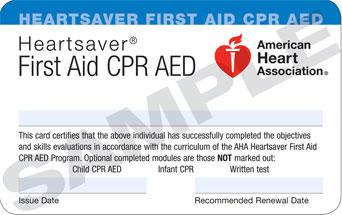 Heartsaver CPR FA card